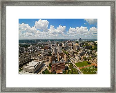 An Aerial View Of Oakland Neighborhood Of Pittsburgh Framed Print