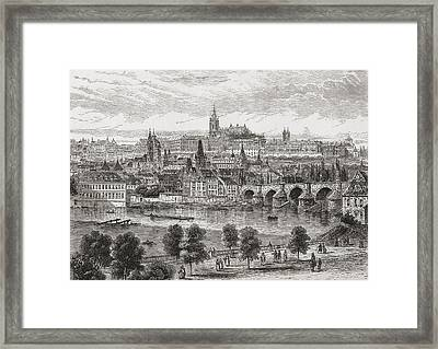 An Aerial View Of Prague, Czech Framed Print by Vintage Design Pics