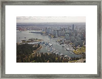 An Aerial View Of The City Of Vancouver Framed Print by Taylor S. Kennedy