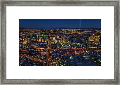 Framed Print featuring the photograph An Aerial View Of The Las Vegas Strip by Roman Kurywczak
