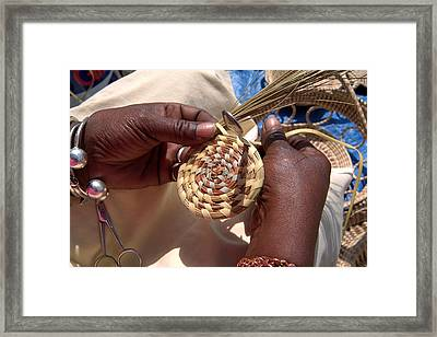 An African American Woman Basket Weaves Framed Print by Richard Nowitz
