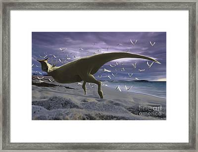 An Albino Carnotaurus Surprising Framed Print