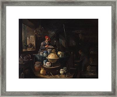 An Alchemist In His Study Framed Print by Egbert van Heemskerck