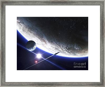 An Alien Patrol Zooms Framed Print by Kevin Lafin