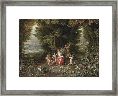 An Allegory Of Earth Framed Print by Jan Brueghel the Younger