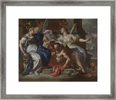 Minerva With Chronos And History Framed Print