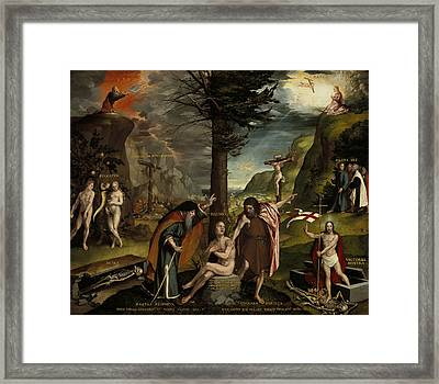 An Allegory Of The Old And New Testaments Framed Print by Hans Holbein the Younger