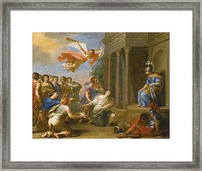 An Allegory Of The Victory Of Peace Over War. Peace And Justice Presenting The Nine Muses To Minerva Framed Print by French School