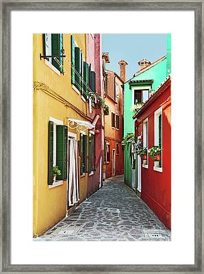 An Alley In Burano Framed Print by Elaine Walsh
