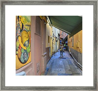 Framed Print featuring the photograph An Alley In Nice by Allen Sheffield