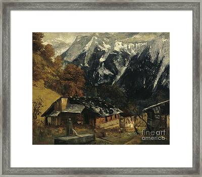 An Alpine Scene Framed Print by Gustave Courbet