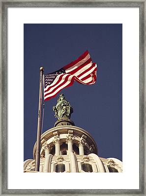 An American Flag And The Statue Framed Print by Medford Taylor