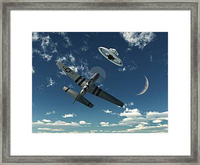 An American P-51 Mustang Gives Chase Framed Print by Mark Stevenson