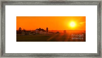 An Amish Sunset Framed Print by Olivier Le Queinec