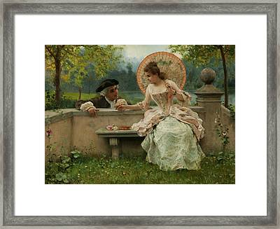 An Amorous Conversation In The Park Framed Print