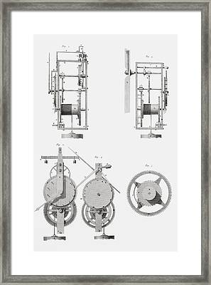 An Ancient Clock Built By Henry De Wick Framed Print by Vintage Design Pics