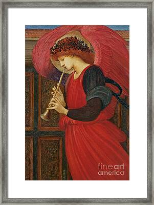 An Angel Playing A Flageolet Framed Print by Sir Edward Burne-Jones