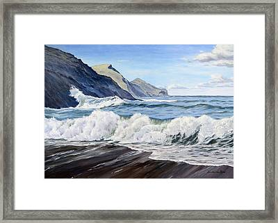 Framed Print featuring the painting An April Morning At Crackington Haven by Lawrence Dyer