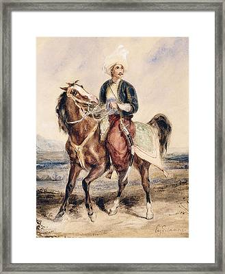 An Arab Warrior On Horseback In A Landscape Framed Print