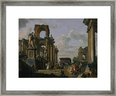 An Architectural Capriccio Of The Roman Forum With Philosophers And Soldiers Framed Print by Giovanni Paolo Panini
