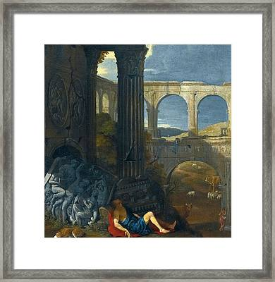 An Architectural Capriccio With Ancient Ruins Framed Print