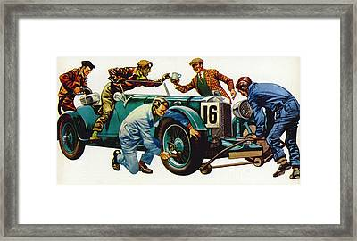 An Aston Martin Racing Car, Vintage 1932 Framed Print by Peter Jackson