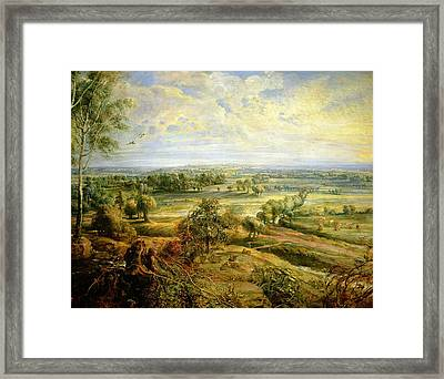 An Autumn Landscape With A View Of Het Steen In The Early Morning Framed Print by Rubens