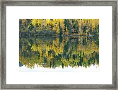 An Autumn View Of A Cabin Reflected Framed Print by Rich Reid