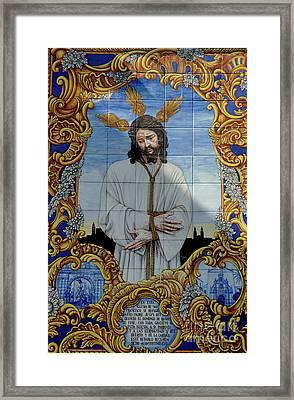 An Azulejo Ceramic Tilework Depicting Jesus Christ Framed Print by Sami Sarkis