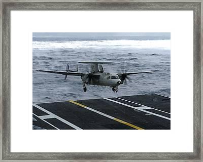 An E-2c Hawkeye Lands Aboard Framed Print by Stocktrek Images