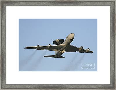 An E-3 Sentry Taking Off From The Nato Framed Print