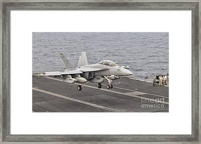 An Ea-18g Growler Landing On The Flight Framed Print