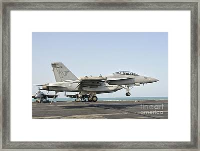 An Ea-18g Growler Trap Landing Framed Print by Giovanni Colla