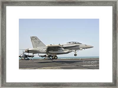 An Ea-18g Growler Trap Landing Framed Print