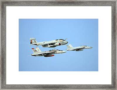An Ea-6b Prowler And Two F A-18f Super Hornets Us Navy Framed Print