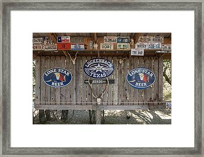 An Eclectic Display In Luckenbach Framed Print