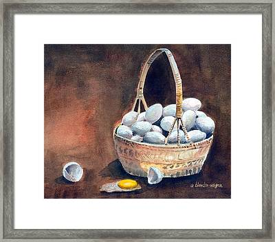 An Egg Mishap Framed Print by Arline Wagner