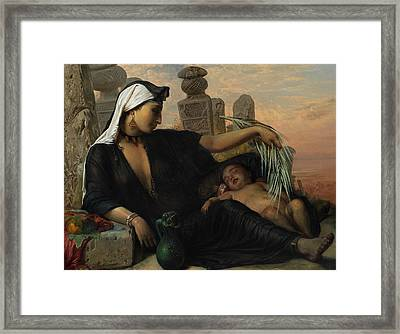 An Egyptian Fellah Woman With Her Baby Framed Print by Elisabeth Jerichau-Baumann