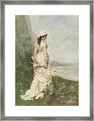 An Elegant Lady By The Sea Framed Print