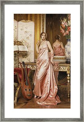 An Elegant Lady In An Interior Framed Print