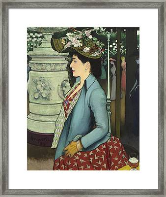 An Elegant Woman At The Elysee Montmartre Framed Print