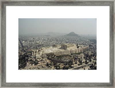 An Elevated View Of The Parthenon Framed Print by James P. Blair