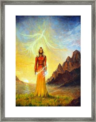 An Enchanting Mystical Priestess With A Sword Of Light In A Land Framed Print