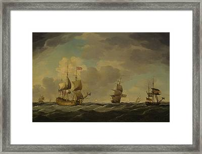 An English Flagship Under Easy Sail In A Moderate Breeze Framed Print
