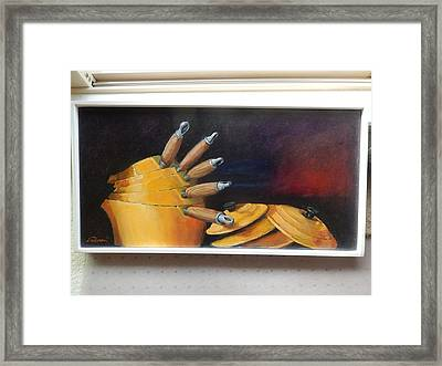 An English Kitchen Yellow Pots Framed Print by Ron Wilson