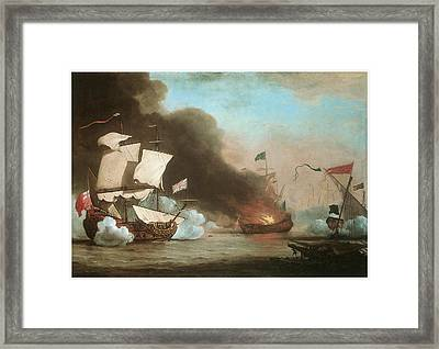 An English Ship In Action With Barbary Pirates Framed Print