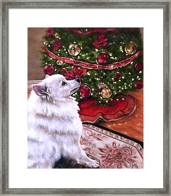 An Eskie Christmas Framed Print