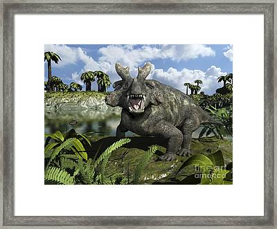An Estemmenosuchus Mirabilis Stands Framed Print by Walter Myers