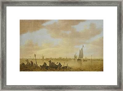 An Estuary Scene With Fisherman Emptying Fish Framed Print by Jan Josefsz