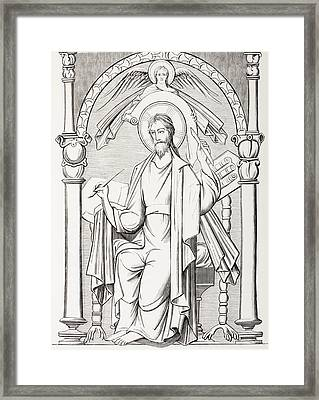 An Evangelist Writes A Sacred Text And Framed Print by Vintage Design Pics